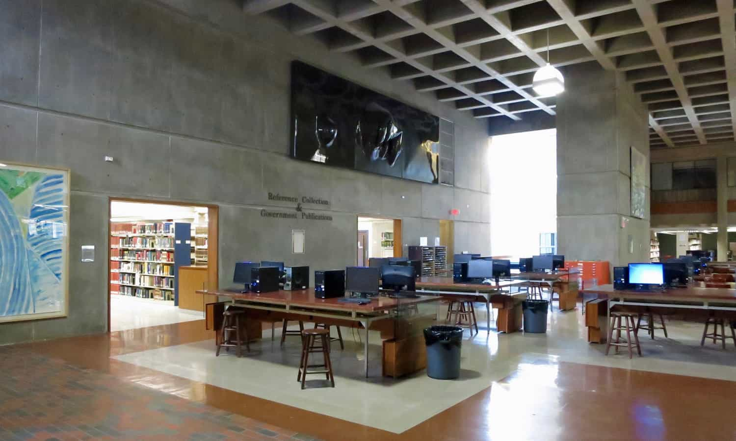 View of the Great Hall with its waffle slab ceiling